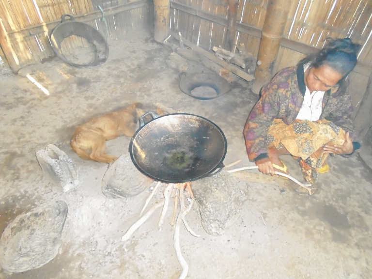 Cooking happens in a small kitchen built next to the house.  With no running water and poor ventilation for the smoke from the fire digestive and respiratory health problems are common.