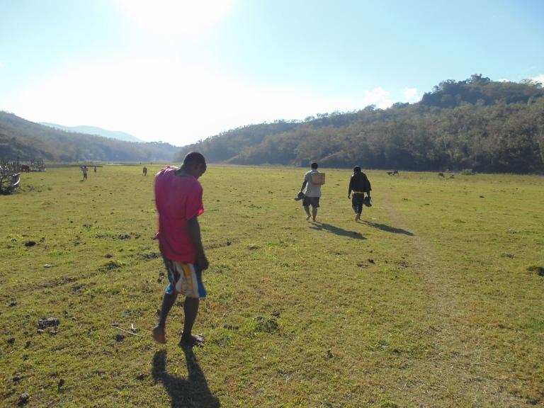The long walk to the family's farm