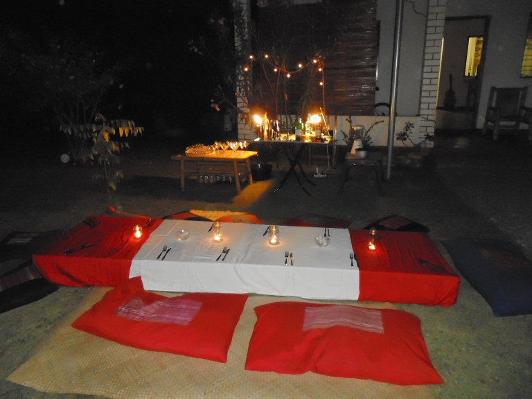 The set-up for an intimate garden party at our place in Dili- 3 courses and cocktails